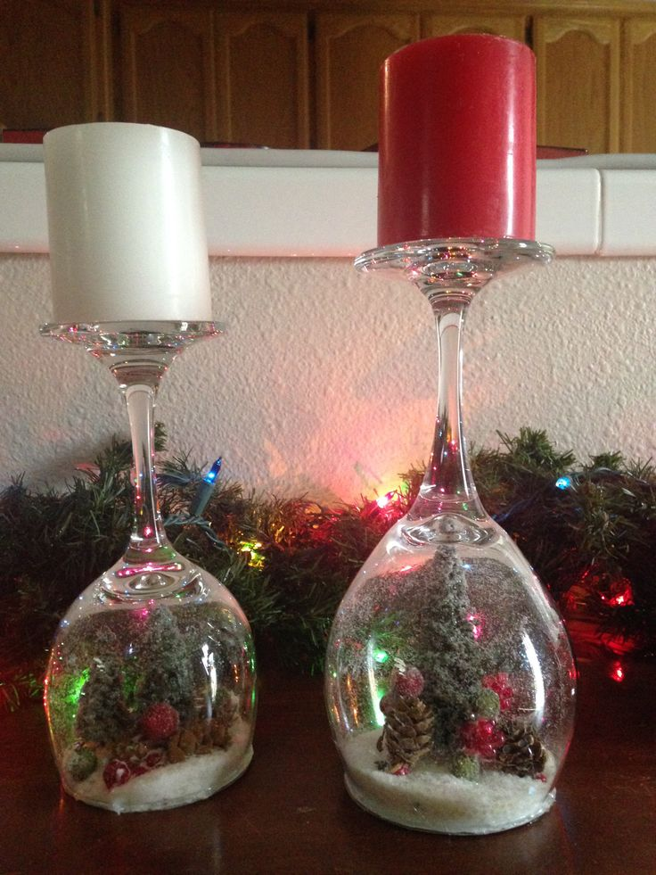 DIY Stemware Wine Glass Snow Globe Candle Holders: What you need: varying sizes of wine glasses (preferably rounder shaped); candles to fit on the base of the wine glasses; white glitter/fake snow; cardboard; Christmas trinkets (trees, reindeer, cardinals, pine cones, ornaments, etc); hot glue