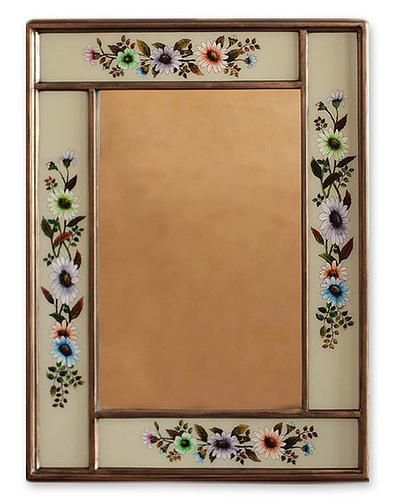 Mirror, 'Modern Daisy' by NOVICA