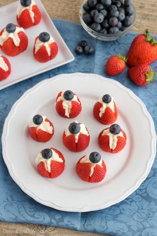 Try these easy red, white, and blue Cheesecake Stuffed Strawberries for a healthier patriotic dessert!