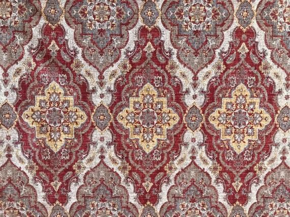 New Double Sided Kilim Rug Inspired Upholstery Fabric Sold By The Yard Red In 2020 Kilim Rugs Rugs Things To Sell
