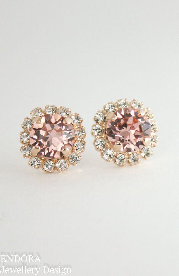 Blush earrings,blush bridal earrings,blush bridesmaid earrings,rose gold swarovski blush crystal earrings,blush wedding jewelry,rose gold