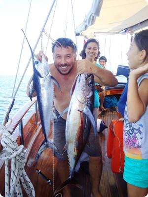 Blue Cruise activities: Enjoy fishing during your luxury gulet cruise