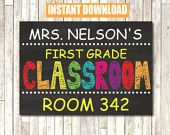 Classroom Sign INSTANT DOWNLOAD self Edit Printable File
