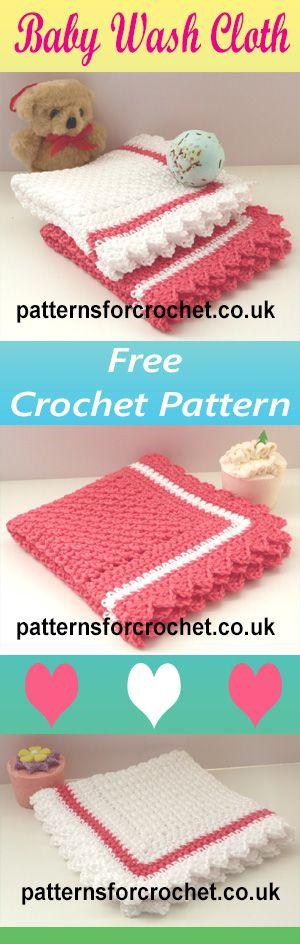 Free crochet pattern for washcloth for babies. #crochet