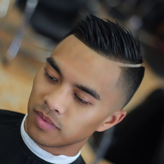 Very Clean Hard Part On This Skin Fade Spiked Combover