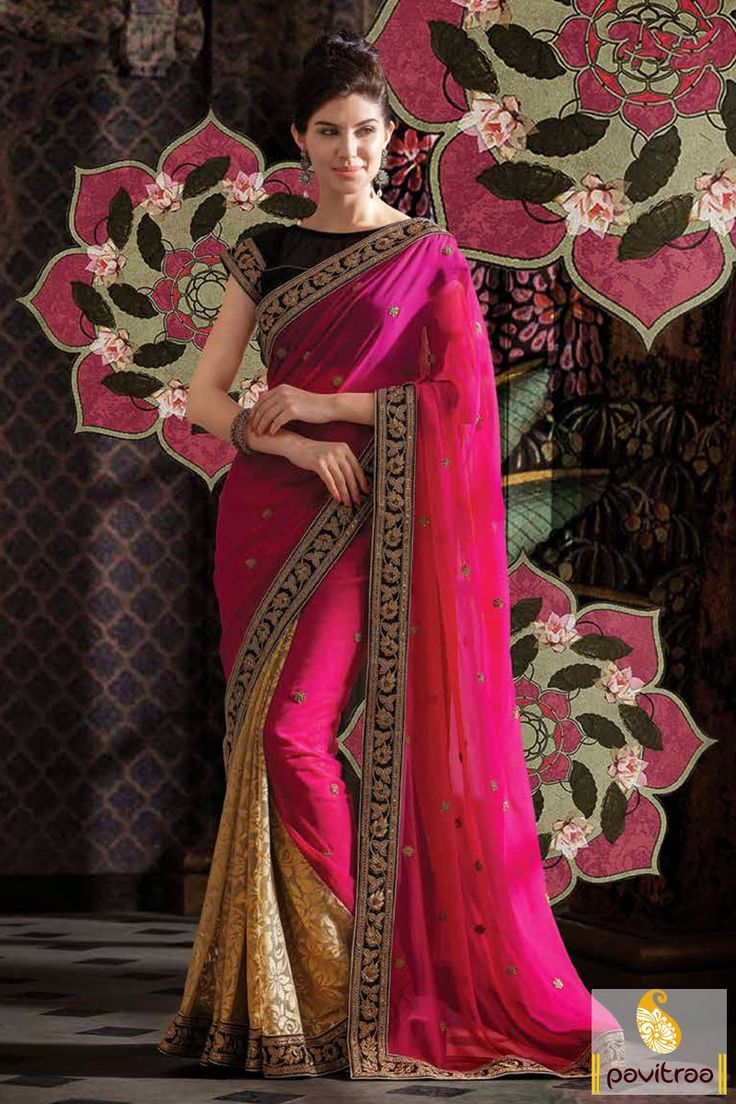 This is made in pure chiffon fabric. The dark pink black and off white net embroidery Saree is beautified with resham, butti and embroidery works.