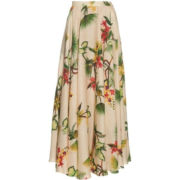 Isolda Tropical floral-print linen maxi skirt ($610) ❤ liked on Polyvore featuring skirts, beige multi, linen maxi skirt, long skirts, colorful maxi skirts, flower skirt and ruffle maxi skirt