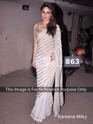 Cute Couture Offwhite Coloured Georgette Provocative Look Saree Sarees
