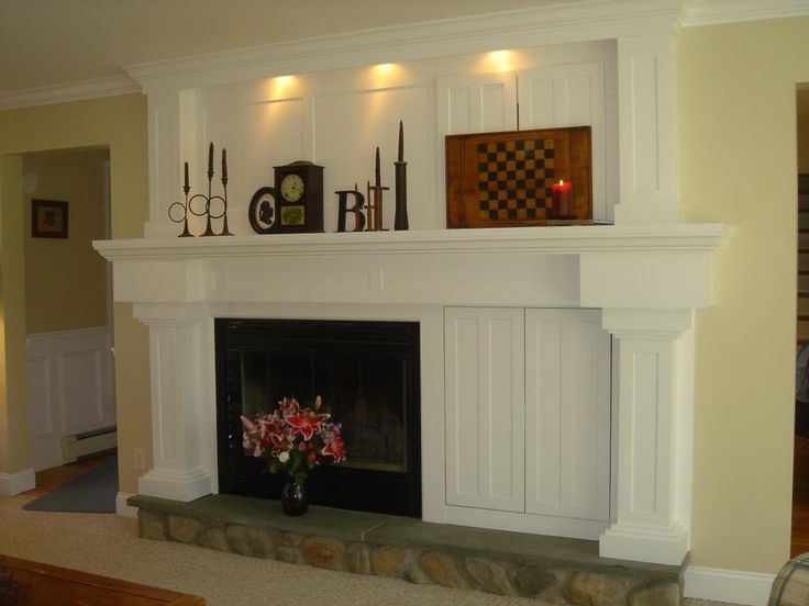 Fireplace makeover; solution for off center fireplace                                                                                                                                                                                 More