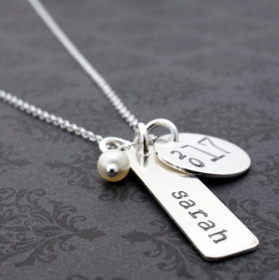 Graduation Jewelry Gift - Class of 2014 Personalized Necklace - Name, Graduation Year and Birthstone Crystal