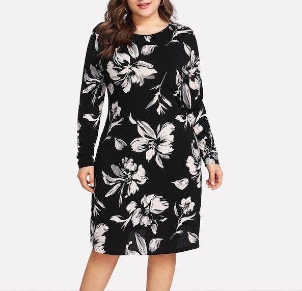Black And White Flower Print Form Fitting Sheath Pencil Dress Plus Size Fashion Clothing Shoes Accessori Sheath Pencil Dress Pencil Dress Plus Size Dresses
