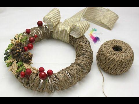 Ghirlanda natalizia Fai da te con spago-Christmas Wreath DIY-ft.Sweet Life - YouTube