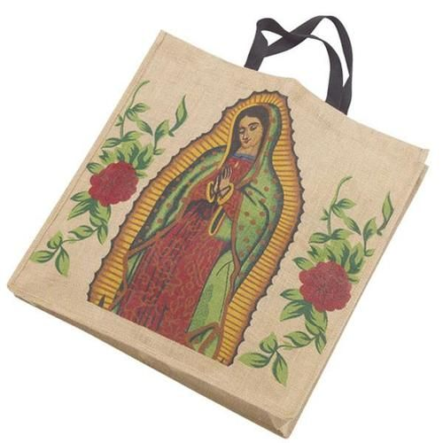 Bag- Virgen de Guadalupe Virgin of Guadalupe Patron Saint of Mexico Eco Friendly Jute Shopping Bag
