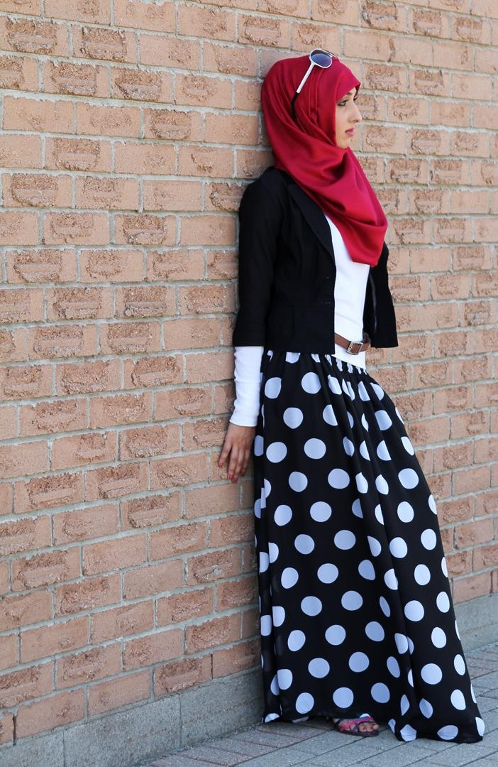 Black Polka Dot Smocked Waist Maxi Skirt