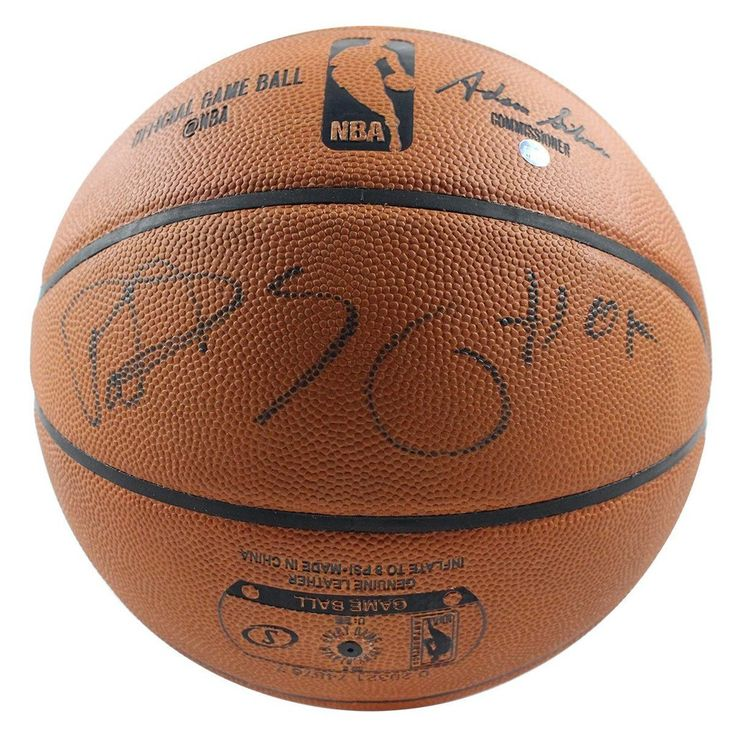 """Knicks Legend & Basketball Hall of Fame Inductee, Patrick Ewing, has hand-signed & inscribed """"HOF"""" on this official NBA basketball. 100% Guaranteed Authe"""