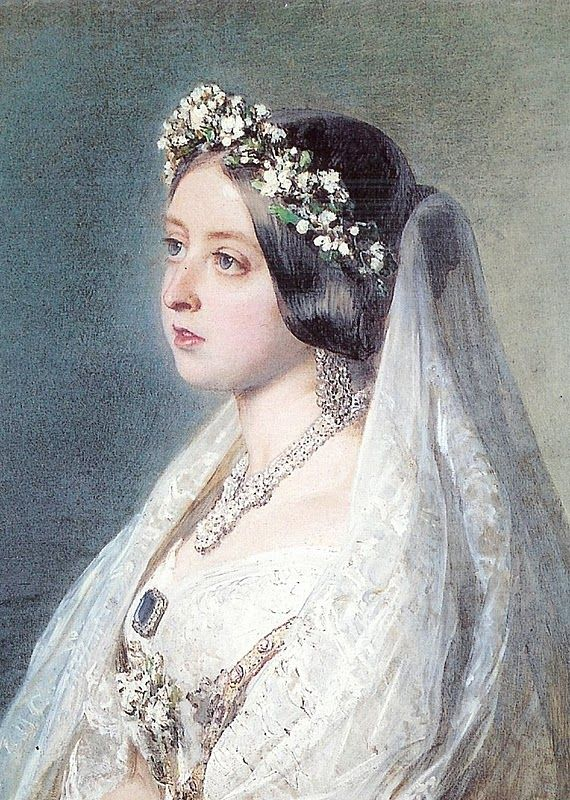 QUEEN VICTORIA in her Wedding Dress - 1840. In choosing a simple white gown & orange blossoms in her hair rather than regal splendor she set a trend of white wedding gowns that continues to this day....