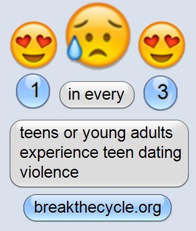 1 in every 3 teens or young adults experience teen dating violence.