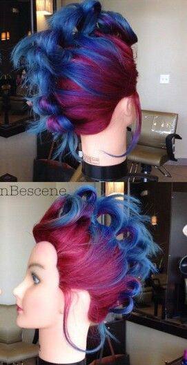 @maayanbescene Pink magenta blue dyed hair Mohawk hairstyle
