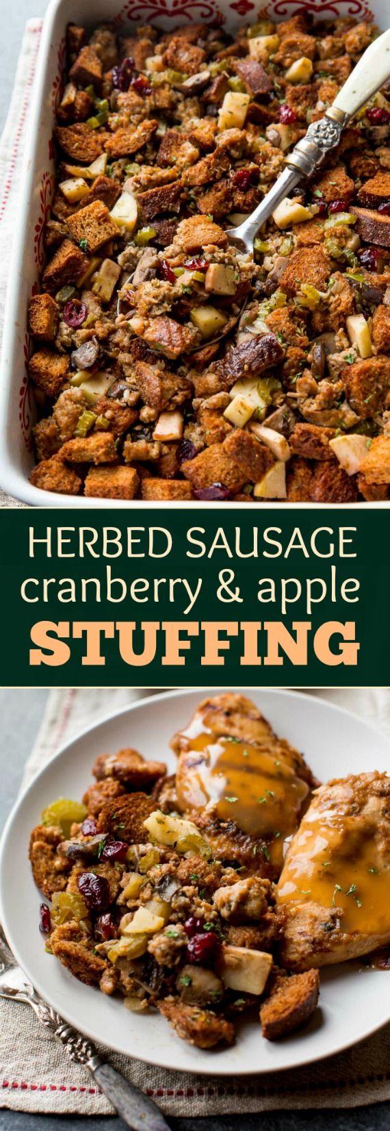 Thanksgiving stuffing with sausage, lots of savory herbs, sweet apples, sausage, and mushrooms! Make ahead side dish. Recipe on sallysbakingaddiction.com