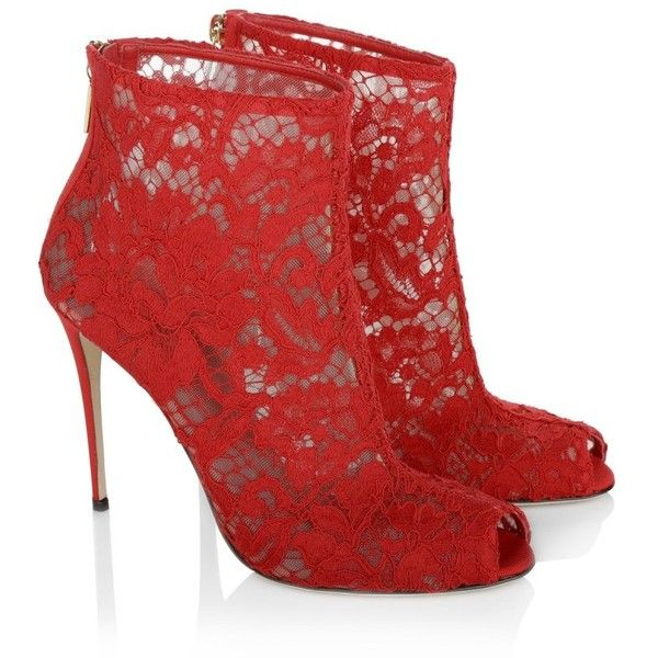 Dolce&Gabbana Boots & Booties, Lace Peeptoe Ankle Bootie Red Shoe (£510) ❤ liked on Polyvore featuring shoes, boots, ankle booties, red, red stilettos, red peep toe booties, peep toe bootie, lace peep toe booties and red booties