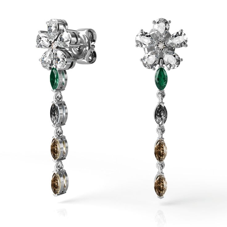 Magnolia drop earrings featuring white diamonds, emeralds and rutile quartz in white gold.