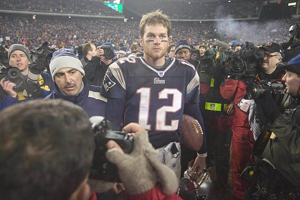 Tom Brady of the New England Patriots after the Pats' 2414 victory over the Indianapolis Colts in the AFC Championship Game at Gillette Stadium in...
