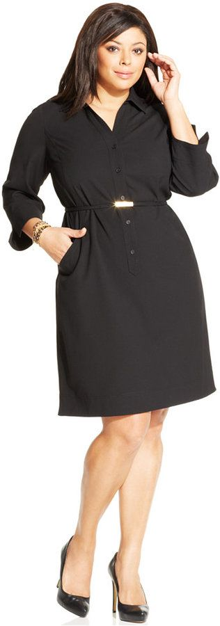 Jones New York Collection Plus Size Belted Shirtdress