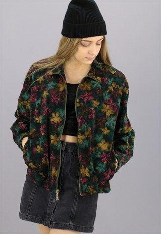 Vintage Patterned Bomber Jacket - Pl Jackets