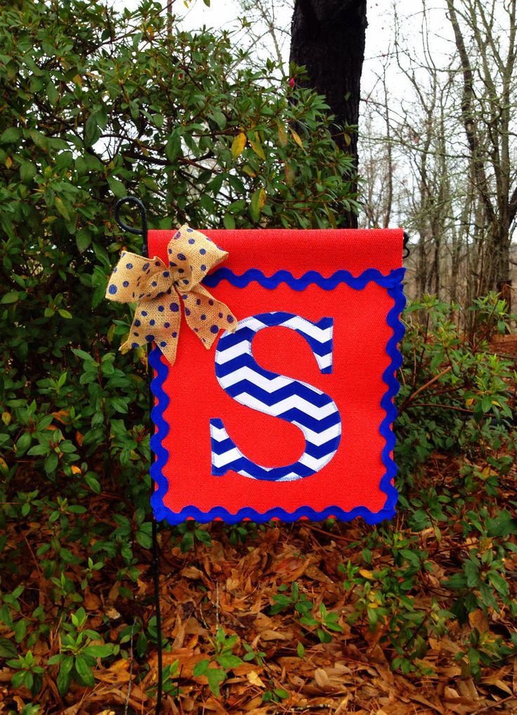 Red Vinyl Garden Flag With Chevron Initial -Garden Flag- Initial Flag- Spring/Summer Garden Flag-Personalized Garden Flag- All Weather Flags by TallahatchieDesigns on Etsy