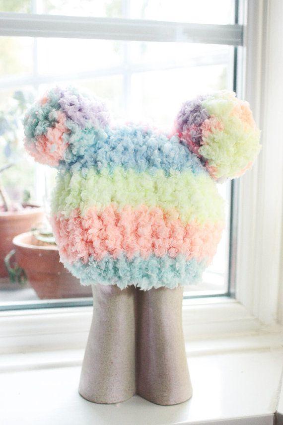 0 to 3m Newborn Hat, Newborn Baby Pom Pom Hat, Newborn Boy Rainbow Hat, Newborn Photo Prop, Newborn Baby Hat, Newborn Girl Hat