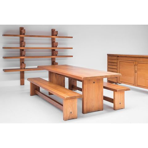 Very pleased with these new arrivals. Great ensemble of Pierre Chapo furniture. R13 bahut, t14d dining table, pair of s14d benches and a very rare b17c bibliotheque (private collection)  #pierrechapo #frenchdesign #design #bruges #galeriethomasserruys #designfrancais #charlotteperriand