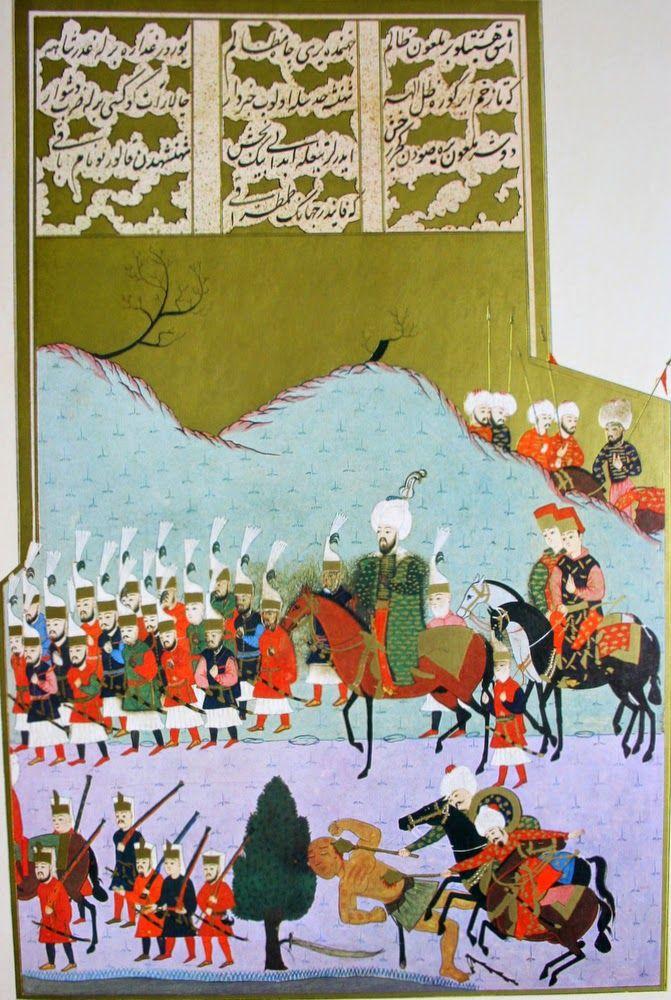 """Hünername'den Mehmed Bey çizimi ile """" Manastır'da bir ırmağı geçerken sultan ikinci Bayezid'e suikast girişiminde bulunan birisinin öldürülüşü."""" minyatürü."""