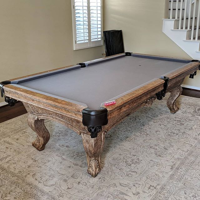 Finished Installing This 8 Custom Olhausen With Banker S Grey Olhausen Playpool Billiards Dkbilliards Mancave Play Pool Billiards Home Decor