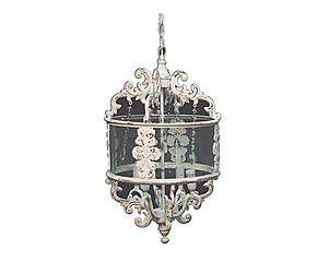 Lampadario in ferro e vetro a 4 luci Lucienne - d 32/h 56 cm