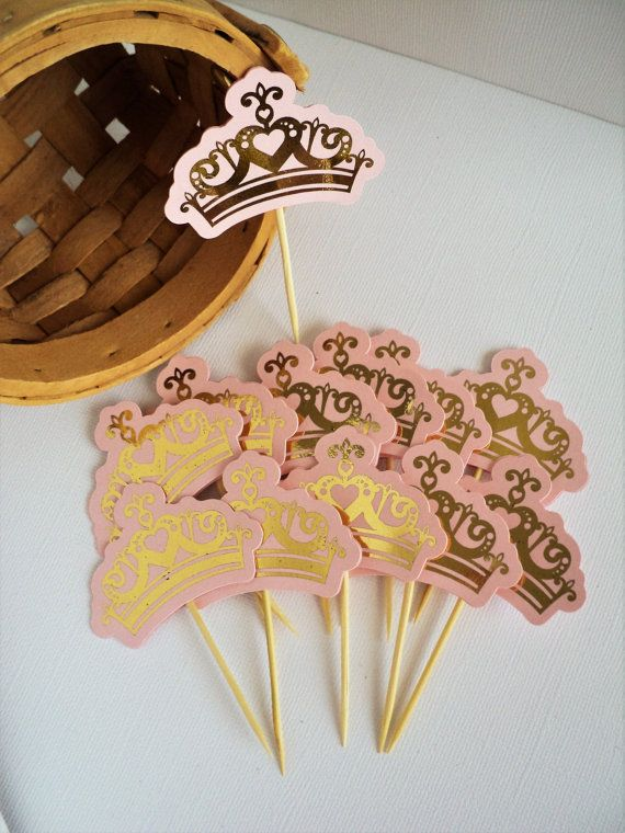 Pink and Gold Crown Cupcake Topper , 12 CT, Pink and Gold Decoration, Birthday Decoration, Girl Party Déco.  This is perfect for your Pink