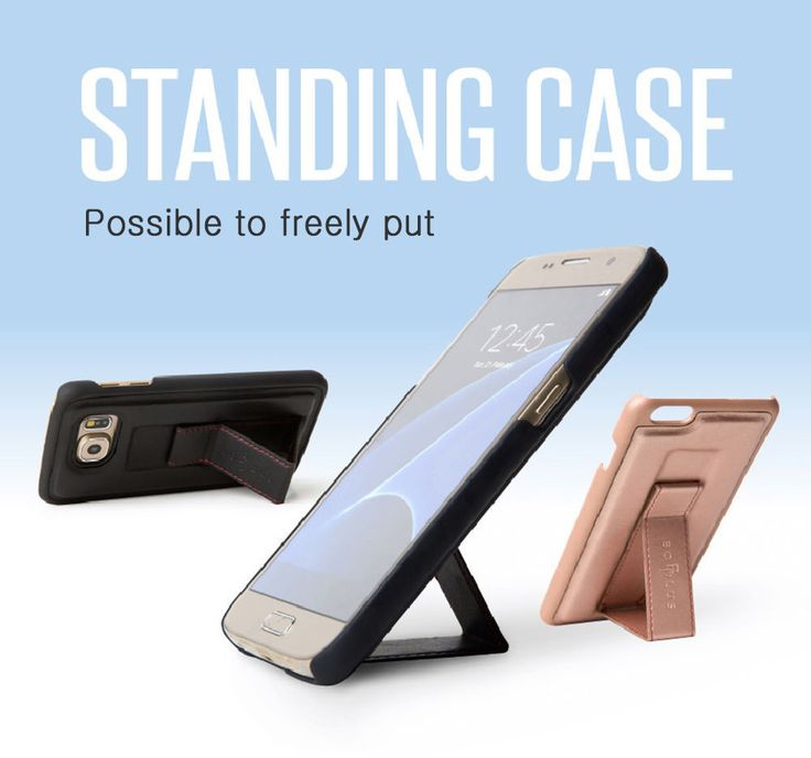 Bobplus Standing Case Cell/Smart Phone Grip for iPhone 7 Plus Navy / Orange #Bobplus