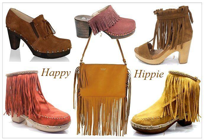 Die 70-er Jahre sind zurück- und mit ihnen kommen Clogs wieder ganz groß in Mode. Ein echter Fesitval-Look: Fransen-Clogs und kräftige Farben
