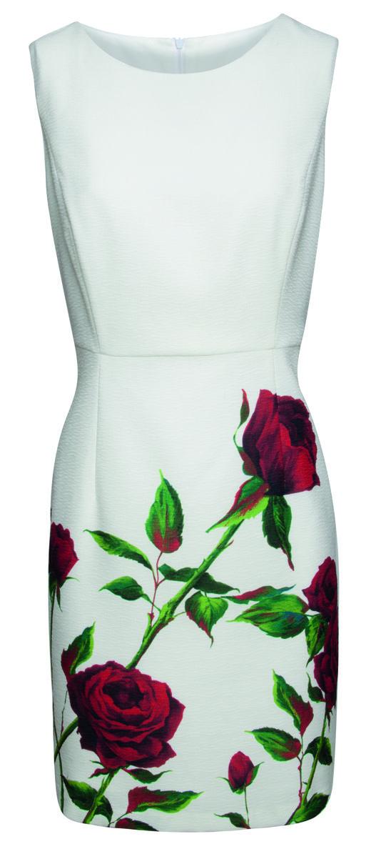 Jurk SMASHED LEMON Wit met rode rozen   Queen Yelien