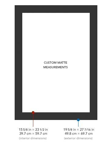 """Custom matte measurements for framing an 18x24"""" poster in an Ikea Ribba frame"""