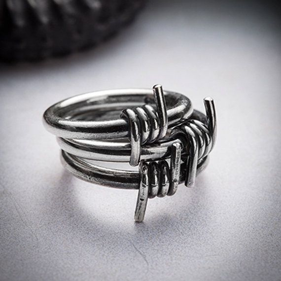 SALE BARB WIRE silver stackable ring by missyindustry on Etsy