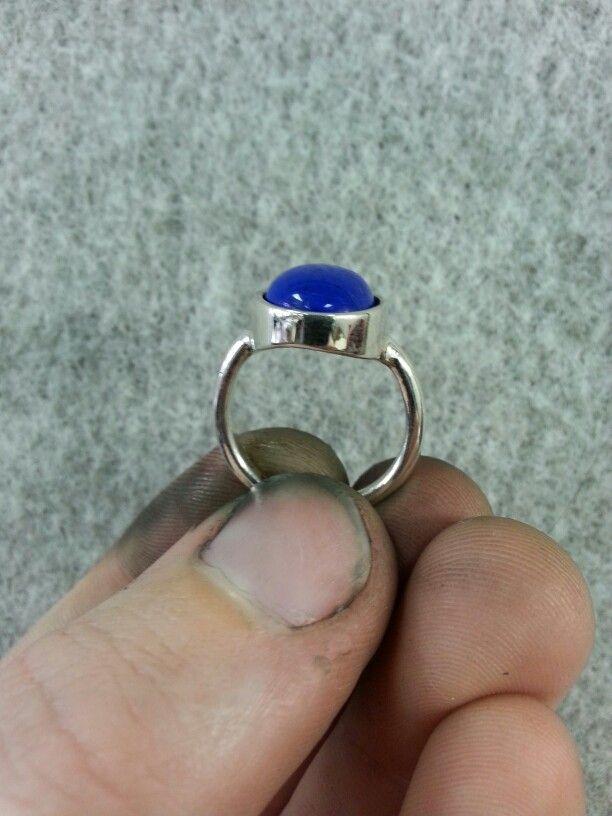 Lapis Lazuli silver ring,  front view.