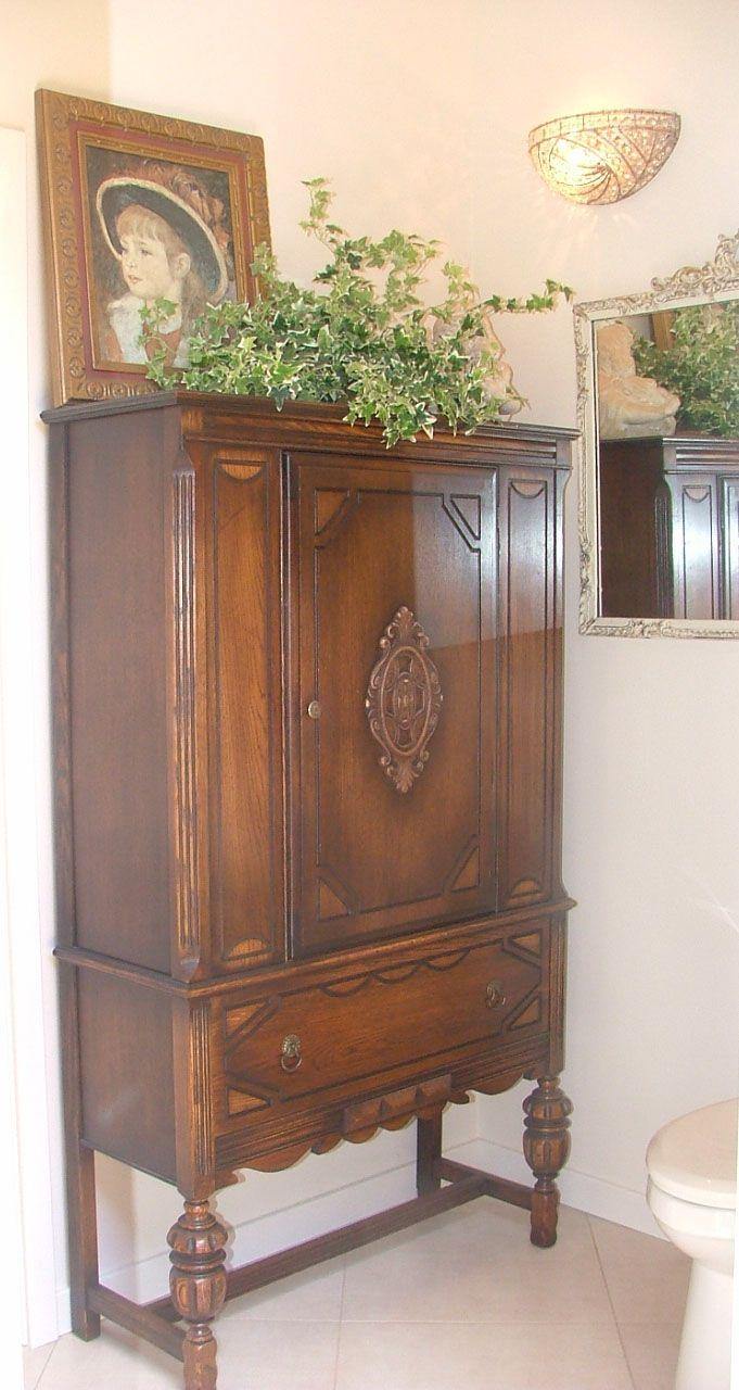 38 best antique bathroom vanities images on pinterest bathroom bathrooms and antique bathroom - Antique bathroom linen cabinets ideas ...