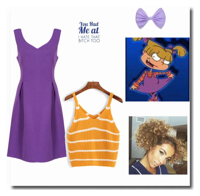 """""""Angelica from Rugrats Costume"""" by schoolisboring ❤ liked on Polyvore featuring WithChic, Halloween, 90s, Costume, rugrats and angelica"""