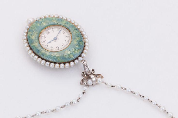 Verger Yellow Gold, Platinum, Enamel, Pearl and Diamond Pendant Watch image 2