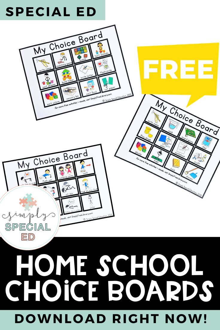 Simply Free Library Home Choice Boards Choice Boards Special Education Special Education Activities