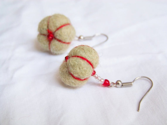 Green & Red Pumpkin Head  Felted earrings by ThePrimordialSheep, $15.00