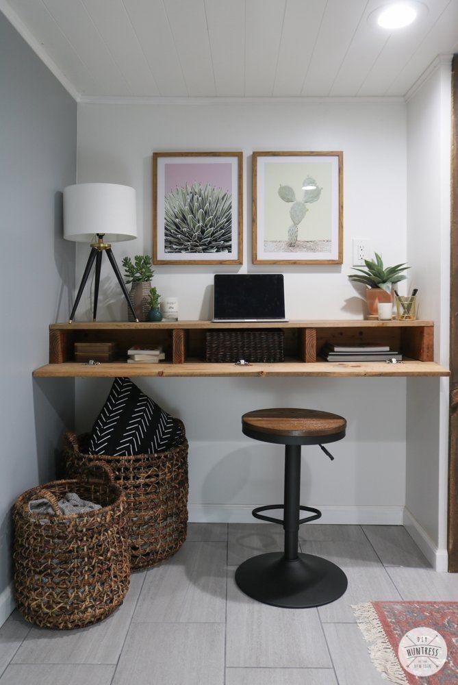 Diy Floating Desk With Hidden Storage Diy Huntress In 2020 Floating Desk Diy Desk Hidden Storage