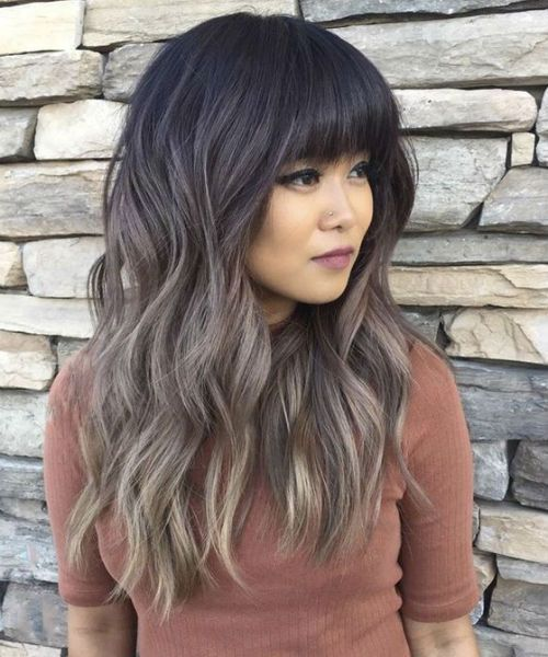 Luminous Full Fringe Long Ombre Hairstyles With Layers And Waves To