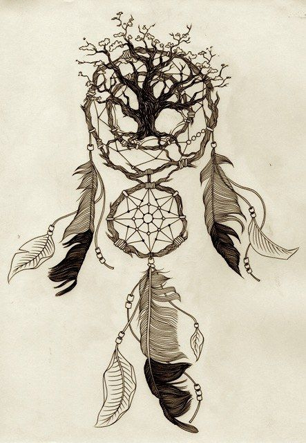 Dream catcher with a tree inside. Possible new design for back tattoo.