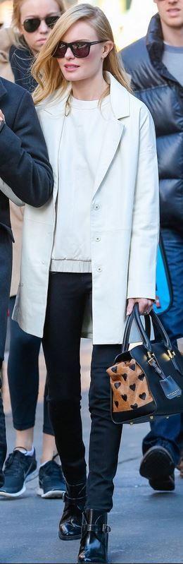 Kate Bosworth: Shirt, jacket and shoes – Topshop  Purse – Burberry  Sunglasses – Karen Walker